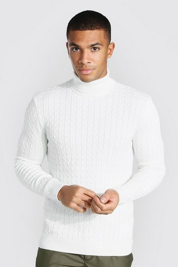 Cream white Cable Knit Roll Neck Jumper