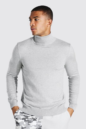 Grey marl grey Roll Neck Jumper
