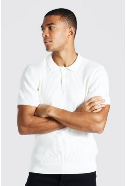 Cream white Short Sleeve Slim Fit Ribbed Knit Polo