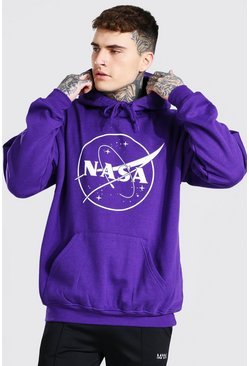Purple Oversized Nasa Print Hoodie