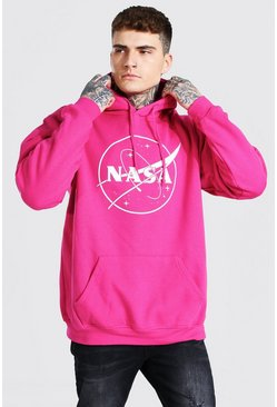 Sweat à capuche oversize imprimé NASA, Pink rose