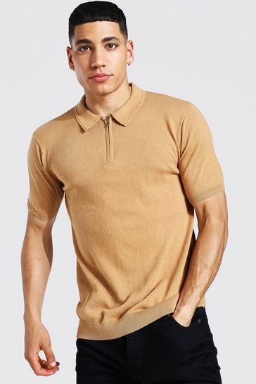 Camel beige Short Sleeve Half Zip Knitted Polo
