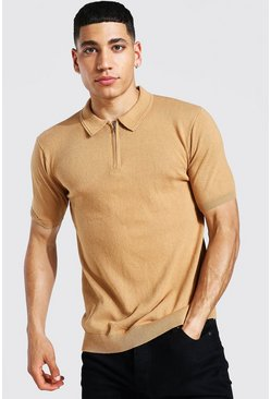 Camel beige Short Sleeve Half Zip Knitted Polo