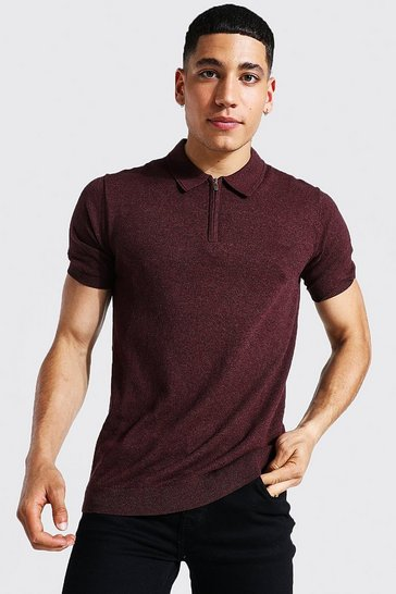 Burgundy red Short Sleeve Half Zip Knitted Polo