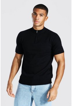 Black Short Sleeve Half Zip Turtle Neck Jumper