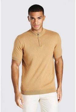 Camel beige Short Sleeve Half Zip Turtle Neck Sweater
