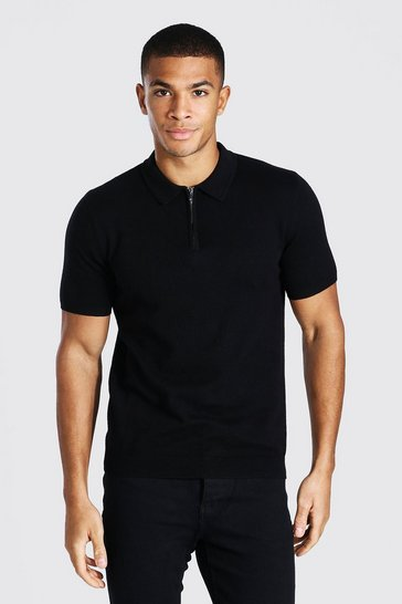 Black Short Sleeve Half Zip Knitted Polo