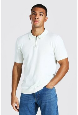 Ecru white Short Sleeve Half Zip Knitted Polo