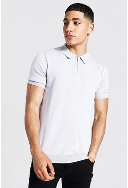 Grey Short Sleeve Half Zip Knitted Polo