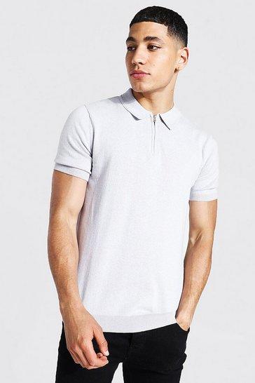 Grey Short Sleeve Half Zip Knitted Polo