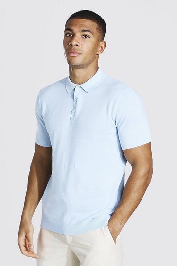 Blue Short Sleeve Knitted Polo