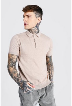 Stone beige Short Sleeve Knitted Polo