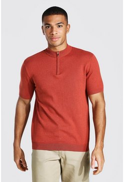 Rust orange Short Sleeve Half Zip Turtle Neck Jumper