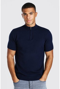 Navy Short Sleeve Half Zip Turtle Neck Sweater