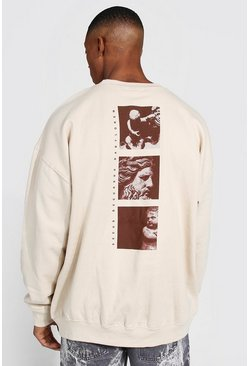 Sand beige Oversized Graphic Back Print Sweatshirt