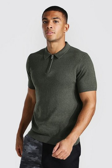 Khaki Short Sleeve Half Zip Knitted Polo