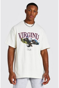 Ecru Oversized Virginia Eagle Print T-shirt