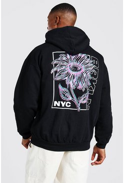 Black Oversized Flower Back Print Hoodie