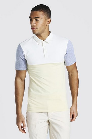 Sand beige Muscle Fit Colour Block Polo