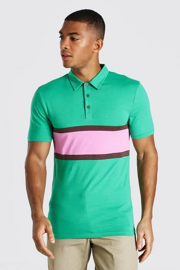 Green Muscle Fit Colour Block Polo