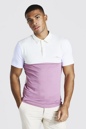 Mauve purple Man Signature Muscle Fit Colour Block Polo