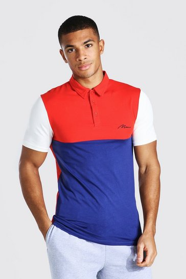 Red Man Signature Muscle Fit Colour Block Polo