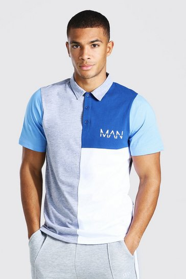 Grey marl grey Original Man Colour Block Polo