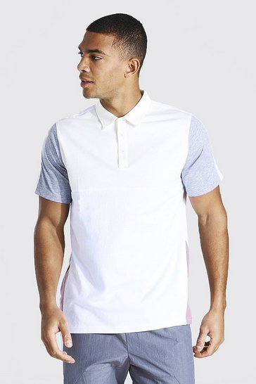 Ecru white Colour Block Polo