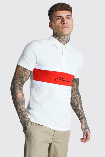 Ecru white Man Signature Muscle Fit Colour Block Polo