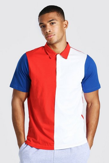 Red Colour Block Polo