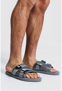 Grey Padded Strap Front Sliders