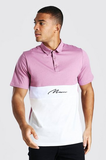 Mauve purple Man Signature Colour Block Polo