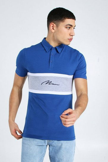 Navy Man Signature Muscle Fit Colour Block Polo