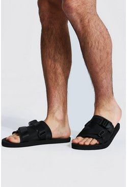 Padded Strap Front Sliders, Black negro