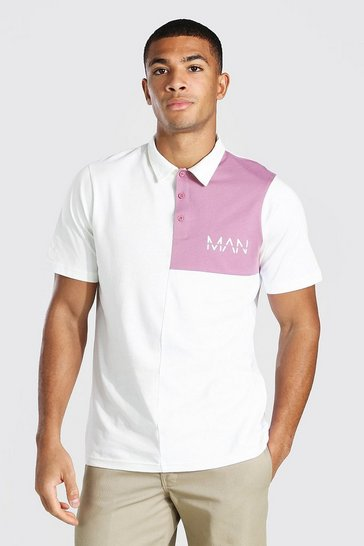 Ecru white Original Man Colour Block Polo