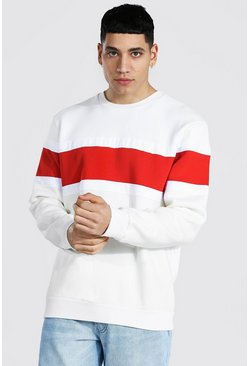 Colour Block Sweatshirt, Ecru bianco