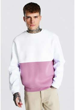 Colour Block Sweatshirt, Mauve morado