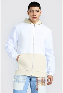 Ecru white Zip Through Colour Block Hoodie