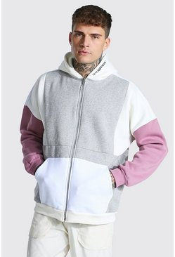Grey marl grey Oversized Man Zip Through Colour Block Hoodie