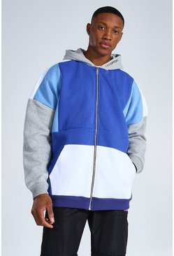 Navy Oversized Man Zip Through Colour Block Hoodie