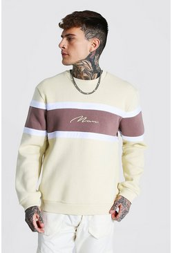 Sand beige Man Signature Colour Block Sweatshirt