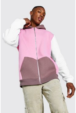 Dusky pink pink Zip Through Colour Block Hoodie