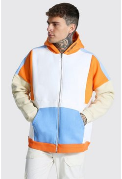 Sweat à capuche zippé oversize color block - MAN, Orange