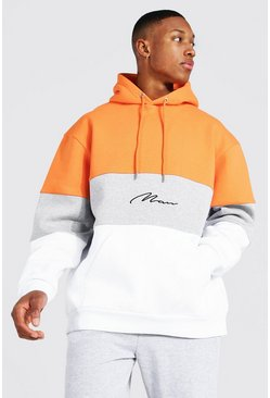 Orange Oversized Man Signature Colour Block Hoodie