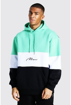 Jade green Oversized Man Signature Colour Block Hoodie