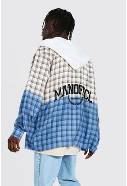 Ecru white Oversized Hooded Back Print Ombre Check Shirt