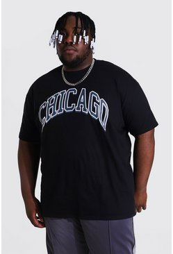"Black svart Plus size - ""Chicago"" T-shirt med tryck"