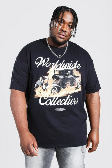 Black Plus Size Worldwide Car Flame Print T-shirt