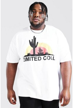 White Plus Size Limited Coll Print T-shirt