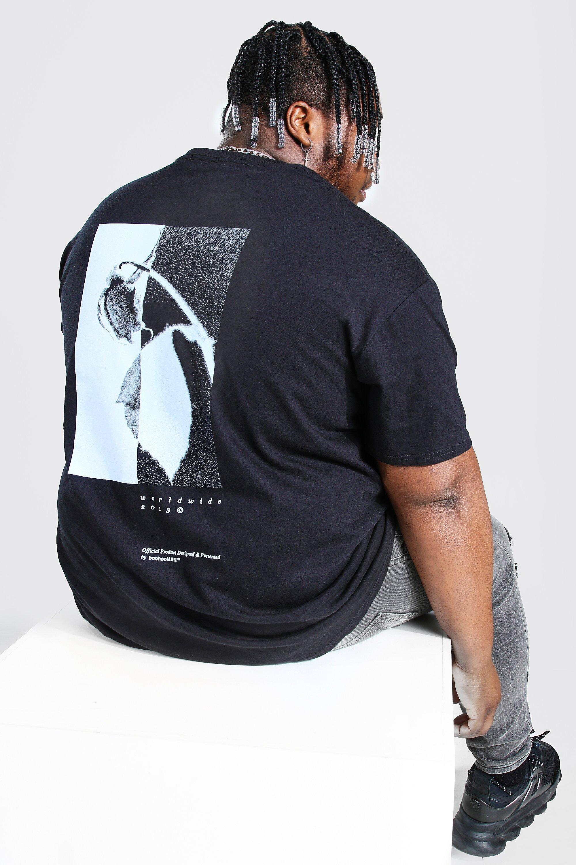 Big & Tall Sale Plus Size Rose Back Print T-shirt